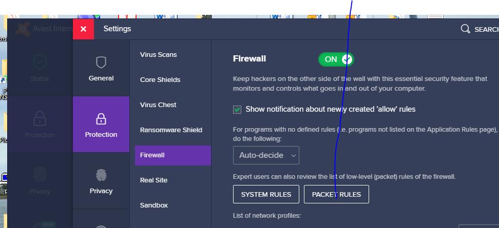 temporarily turn off avast firewall